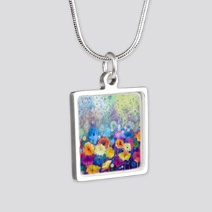 Floral Painting Silver Square Necklace