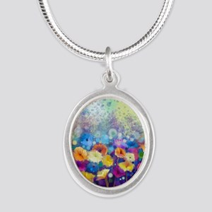 Floral Painting Silver Oval Necklace