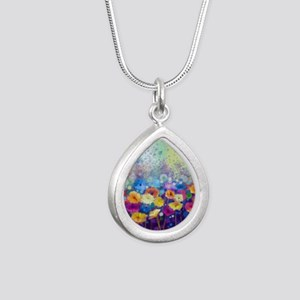 Floral Painting Silver Teardrop Necklace
