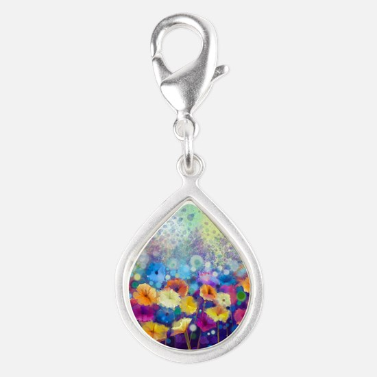 Floral Painting Silver Teardrop Charm