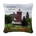 Two Harbors Lighthouse Woven Throw Pillow