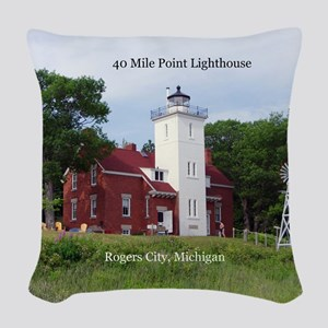 40 Mile Point Lighthouse Woven Throw Pillow