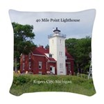 40 Mile Point Lighthouse Woven Throw Pillow