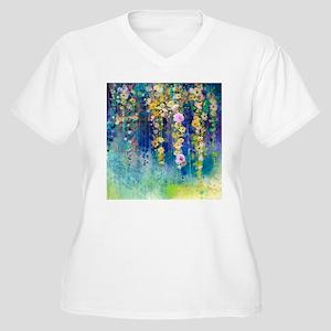 Floral Painting Women's Plus Size V-Neck T-Shirt