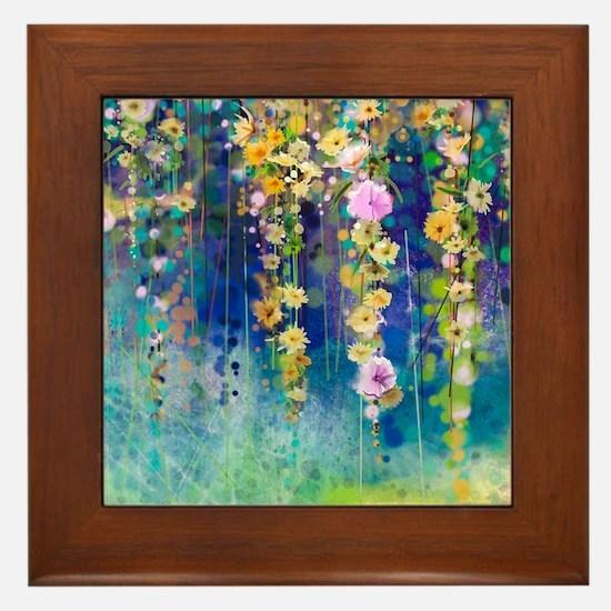 Floral Painting Framed Tile