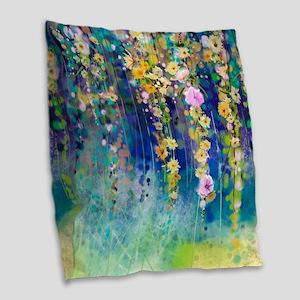 Floral Painting Burlap Throw Pillow