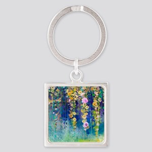 Floral Painting Square Keychain