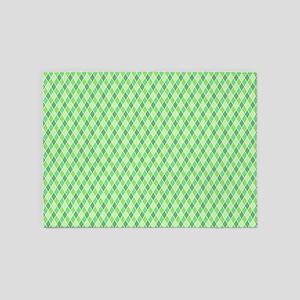 Green Harlequin Pattern 5'x7'Area Rug