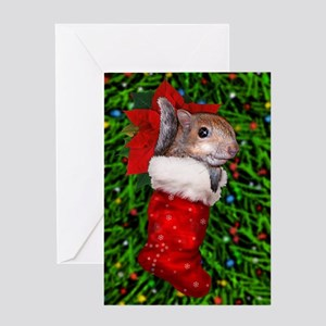 Squirrel Baby in Stocking Greeting Card