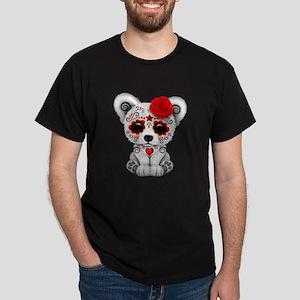 Red Day of the Dead Sugar Skull Polar Bear T-Shirt