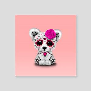 Pink Day of the Dead Sugar Skull Polar Bear Sticke