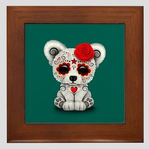 Red Day of the Dead Sugar Skull Polar Bear on Blue