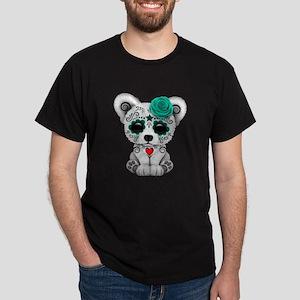 Teal Blue Day of the Dead Sugar Skull Polar Bear T