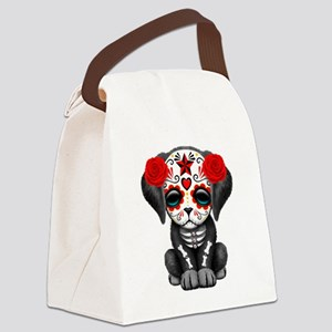 Cute Red Day of the Dead Puppy Dog Canvas Lunch Ba