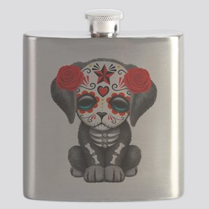 Cute Red Day of the Dead Puppy Dog Flask
