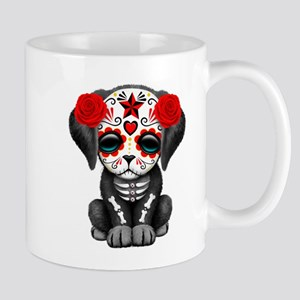 Cute Red Day of the Dead Puppy Dog Mugs