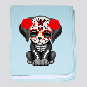 Cute Red Day of the Dead Puppy Dog baby blanket