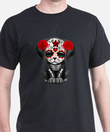 Cute Red Day of the Dead Puppy Dog T-Shirt