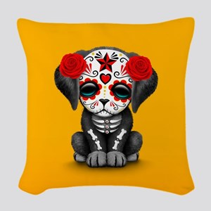 Cute Red Day of the Dead Puppy Dog on Yellow Woven