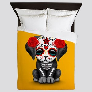 Cute Red Day of the Dead Puppy Dog on Yellow Queen