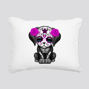 Purple Red Day of the Dead Puppy Dog Rectangular C