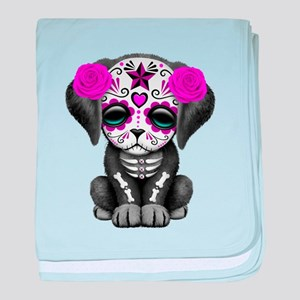 Purple Red Day of the Dead Puppy Dog baby blanket