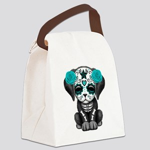 Cute Blue Day of the Dead Puppy Dog Canvas Lunch B