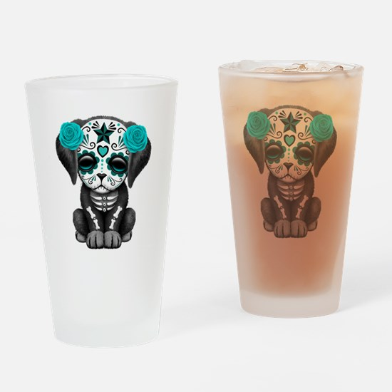 Cute Blue Day of the Dead Puppy Dog Drinking Glass