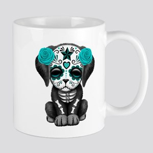 Cute Blue Day of the Dead Puppy Dog Mugs
