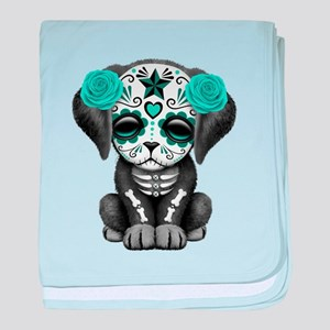 Cute Blue Day of the Dead Puppy Dog baby blanket