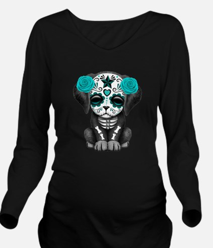 Cute Blue Day of the Dead Puppy Dog Long Sleeve Ma
