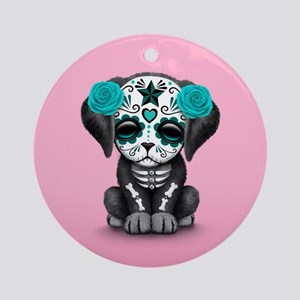 Cute Blue Day of the Dead Puppy Dog on Pink Round