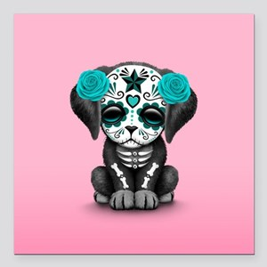 Cute Blue Day of the Dead Puppy Dog on Pink Square