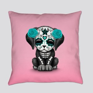 Cute Blue Day of the Dead Puppy Dog on Pink Everyd