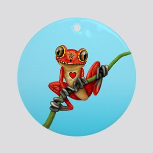 Red Day of the Dead Sugar Skull Tree Frog Round Or