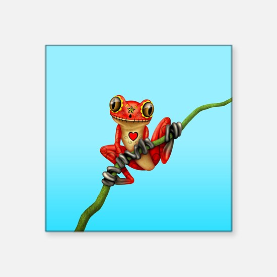Red Day of the Dead Sugar Skull Tree Frog Sticker