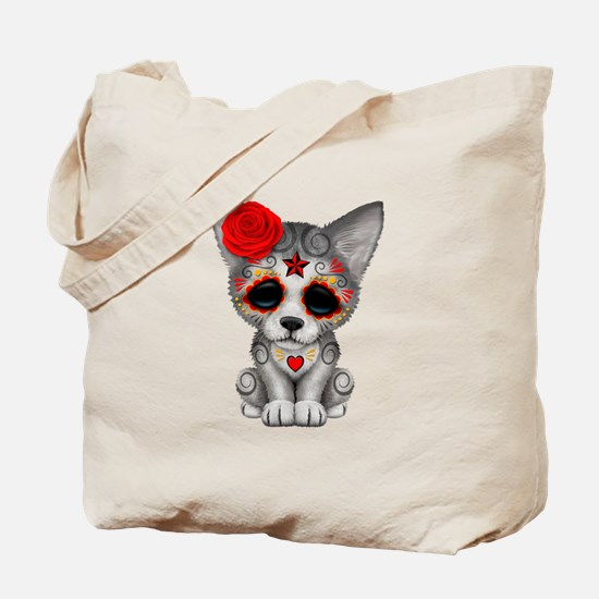 Red Day of the Dead Sugar Skull Wolf Cub Tote Bag