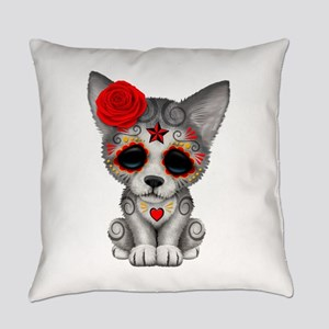 Red Day of the Dead Sugar Skull Wolf Cub Everyday