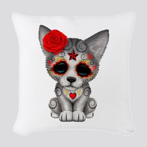 Red Day Of The Dead Sugar Skull Woven Throw Pillow