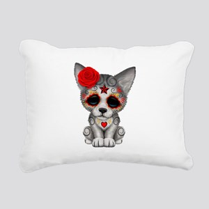 Red Day of the Dead Sugar Skull Wolf Cub Rectangul