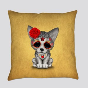 Red Day of the Dead Sugar Skull Wolf Cub on Yellow