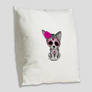 Pink Day of the Dead Sugar Skull Wolf Cub Burlap T