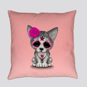 Pink Day of the Dead Sugar Skull Wolf Cub Everyday