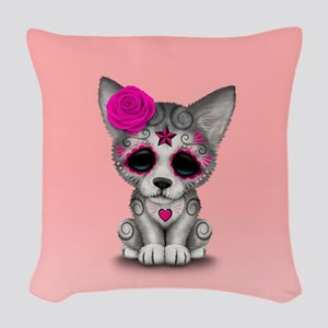 Pink Day of the Dead Sugar Skull Wolf Cub Woven Th