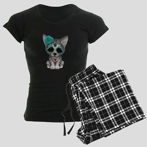Blue Day of the Dead Sugar Skull Wolf Cub pajamas