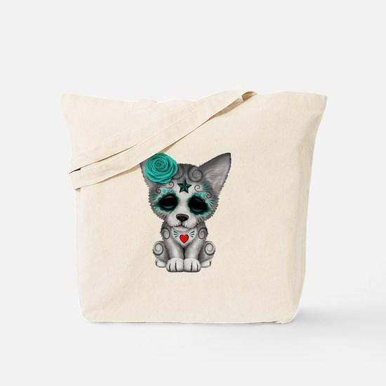 Blue Day of the Dead Sugar Skull Wolf Cub Tote Bag