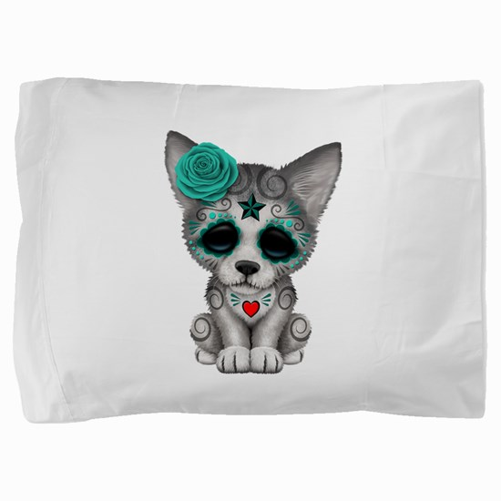 Blue Day of the Dead Sugar Skull Wolf Cub Pillow S