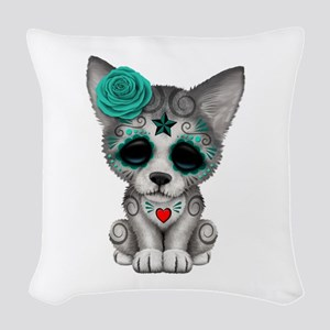 Blue Day Of The Dead Sugar Woven Throw Pillow