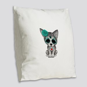 Blue Day of the Dead Sugar Skull Wolf Cub Burlap T