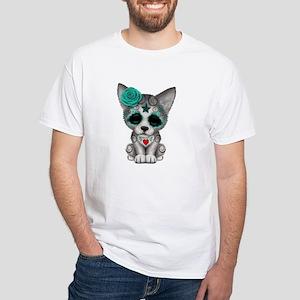 Blue Day of the Dead Sugar Skull Wolf Cub T-Shirt